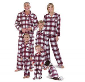 PajamaGram Christmas Pajamas for Family - Fleece Matching Pajamas, Red