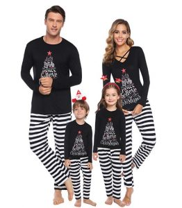 Sykooria Christmas Family Matching Pajamas Mom Dad Kids Xmas Striped
